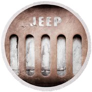 Round Beach Towel featuring the photograph 1957 Jeep Emblem -0597ac by Jill Reger