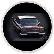Round Beach Towel featuring the photograph 1957 Plymouth Belvedere by Baggieoldboy
