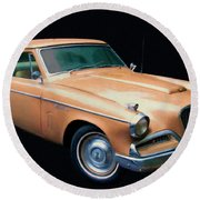 1957 Studebaker Golden Hawk Digital Oil Round Beach Towel