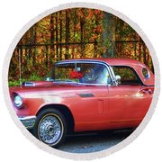 1957 Thunderbird  003 Round Beach Towel