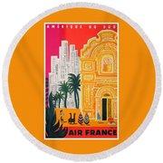 1958 Air France Amerique Du Sud Travel Poster Round Beach Towel