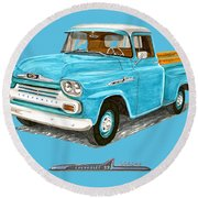 1958 Apache Pick Up Truck Round Beach Towel