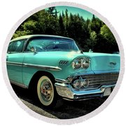 1958 Chevrolet Impala Round Beach Towel