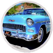 1955 Chevy Baby Blue Round Beach Towel
