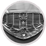 Round Beach Towel featuring the digital art 1958 Ford Fairlane Sunliner Intake Bw by Chris Flees