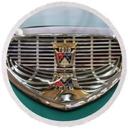 Round Beach Towel featuring the digital art 1958 Ford Fairlane Sunliner Intake by Chris Flees