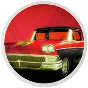 1958 Ford Ranchero 1st Generation Round Beach Towel