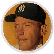 1958 Topps Baseball Mickey Mantle Card Vintage Poster Round Beach Towel by Design Turnpike