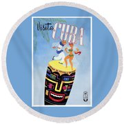 1958 Visit Cuba Travel Poster Round Beach Towel