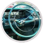 1959 Cadillac Sedan Deville Series 62 Dashboard Round Beach Towel