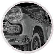 1959 Chevrolet Apache - Bw Round Beach Towel