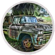Round Beach Towel featuring the photograph 1959 Chevrolet Viking 60 by Paul Ward