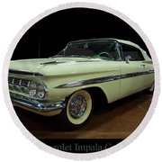 1959 Chevy Impala Convertible Round Beach Towel