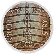 1959 First Oil Well Stamp Round Beach Towel