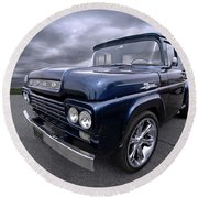 1959 Ford F100 Dark Blue Pickup Round Beach Towel by Gill Billington