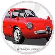 1960 Alfa Romeo Zagato Giulietta Sprint Round Beach Towel by Alain Jamar