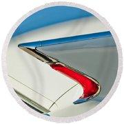 Round Beach Towel featuring the photograph 1960 Cadillac Eldorado Biarritz Convertible Taillight by Jill Reger