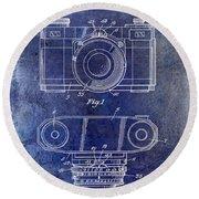 1960 Camera Patent Blue Round Beach Towel
