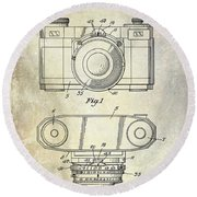 1960 Camera Patent Round Beach Towel