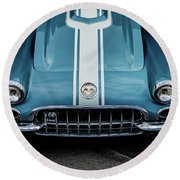 Round Beach Towel featuring the photograph 1960 Corvette by M G Whittingham