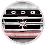 Round Beach Towel featuring the photograph 1960 Dodge Truck Grille Emblem -0275ac by Jill Reger