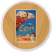 1960 Egypt Twa David Klein Travel Poster  Round Beach Towel