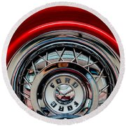 Round Beach Towel featuring the photograph 1958 Ford Crown Victoria Wheel by M G Whittingham