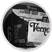 1960's Vernors Box. No Deposit, No Rerurn  Round Beach Towel