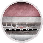 Round Beach Towel featuring the photograph 1961 Chevrolet Corvair Pickup Truck Grille Emblem -0130ac by Jill Reger