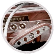 Round Beach Towel featuring the photograph 1961 Chevrolet Impala Ss Steering Wheel Emblem -1156ac by Jill Reger