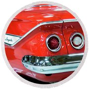 1961 Classic Red Chevrolet Impala Round Beach Towel