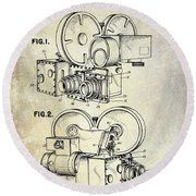 1961 Movie Camera Patent Round Beach Towel