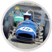 1963 Cooper T66 Coming Out Of Monaco's Mirabeau Round Beach Towel by Wally Hampton