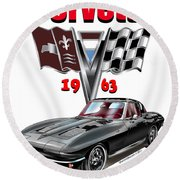 1963 Corvette With Split Rear Window Round Beach Towel