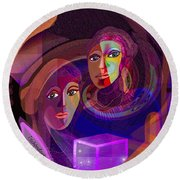 Round Beach Towel featuring the digital art 1963 - Pandoras Magic Box 2017 by Irmgard Schoendorf Welch