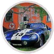 Round Beach Towel featuring the photograph 1964 Cobra Daytona Coupe by Christopher McKenzie