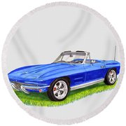 Round Beach Towel featuring the painting 1964 Corvette Stingray by Jack Pumphrey