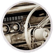 Round Beach Towel featuring the photograph 1964 Ford Thunderbird Steering Wheel -0280s by Jill Reger