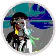 Round Beach Towel featuring the digital art 1964 - Walk On The Seaside by Irmgard Schoendorf Welch