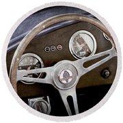 1965 Ac Cobra Steering Wheel Emblem -1216ac Round Beach Towel