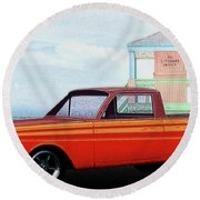 1965 Ford Falcon Ranchero Day At The Beach Round Beach Towel