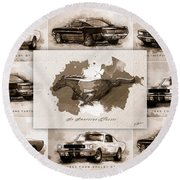 1965 Ford Mustang Collage I Round Beach Towel