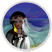 Round Beach Towel featuring the digital art 1965 - Walk On The Oceanside by Irmgard Schoendorf Welch