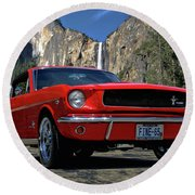 1965 Mustang Fastback Round Beach Towel