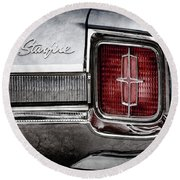 Round Beach Towel featuring the photograph 1965 Oldsmobile Starfire Taillight Emblem -0212ac by Jill Reger