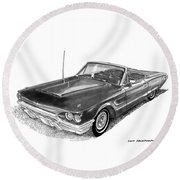 Round Beach Towel featuring the drawing 1965 Thunderbird Convertible By Ford by Jack Pumphrey