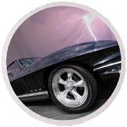 1966 Corvette Stingray With Lightning Round Beach Towel