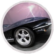 1966 Corvette Stingray With Lightning Round Beach Towel