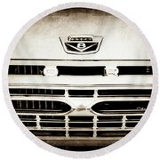 1966 Ford F100 Pickup Truck Grille Emblem -113s Round Beach Towel