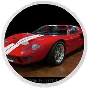 Round Beach Towel featuring the photograph 1966 Ford Gt 40 by Chris Flees